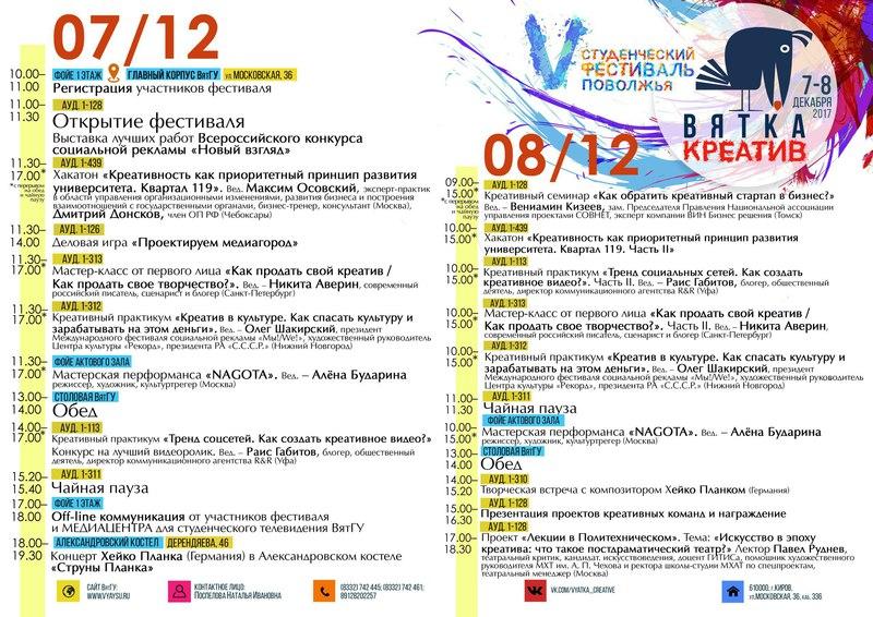 V студенческий фестиваль «Вятка-креатив»: 7–8 декабря 2017 года